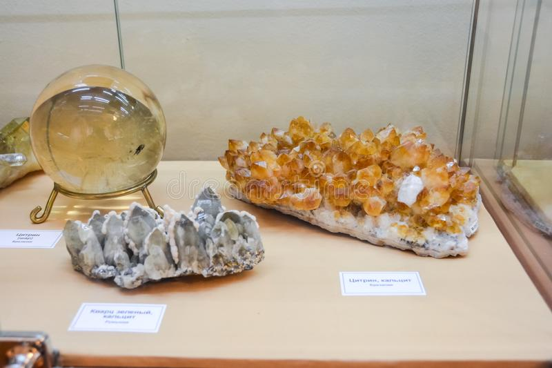 Minerals on display at the museum, Exhibits of the Museum named after Vernadsky in Moscow royalty free stock image