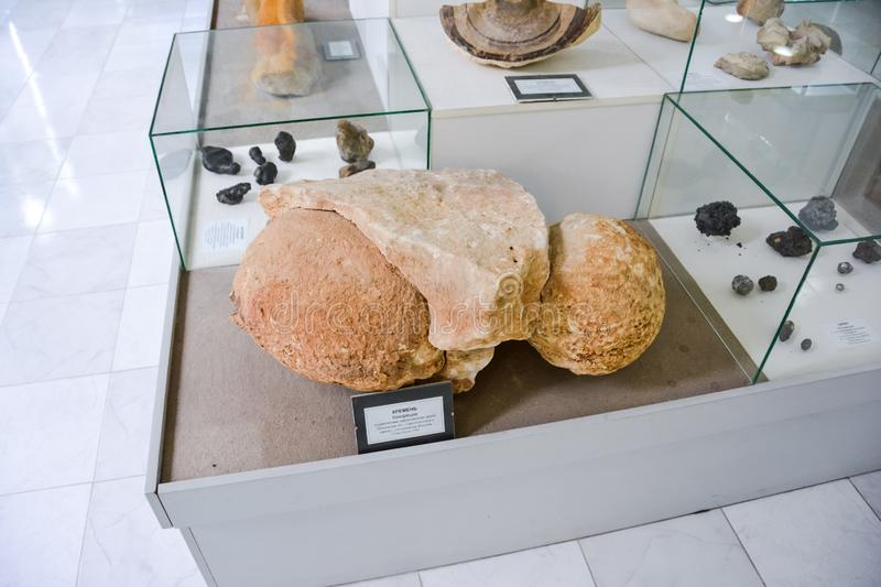 Minerals on display at the museum, Exhibits of the Museum named after Vernadsky in Moscow royalty free stock images