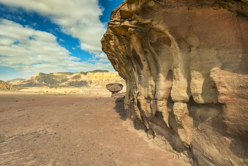 Geological formations in Timna park, Israel royalty free stock photography