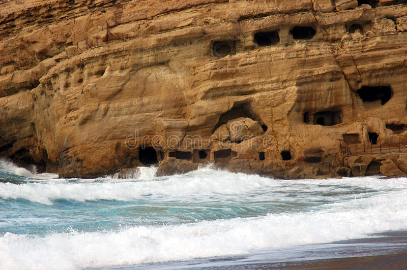 Geological rocks. In Matala beach with ancient caves royalty free stock images