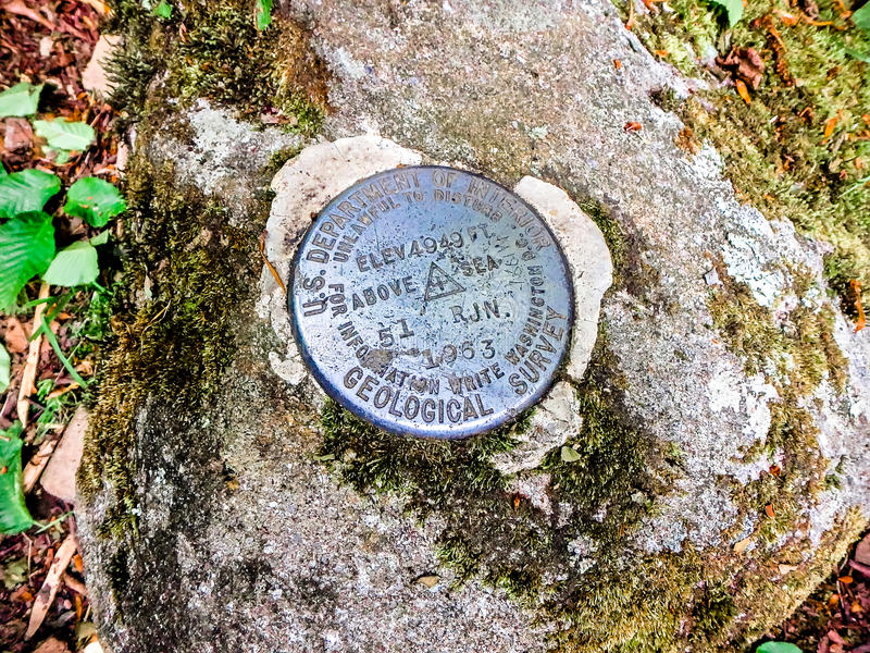 Geological survey elevation point marker royalty free stock photo