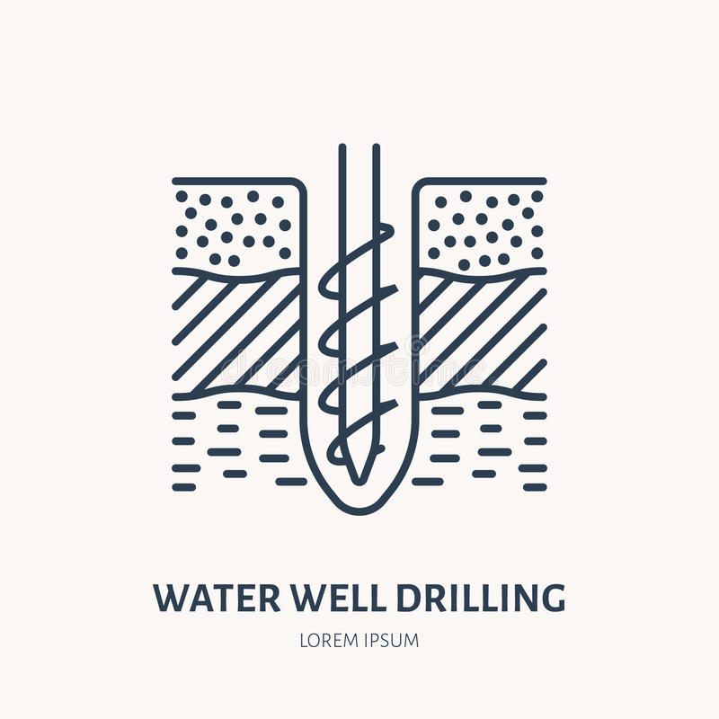 Geological survey, engineering vector flat line icon. Geodesy equipment. Geology research illustration. Water well. Drilling service sign royalty free illustration