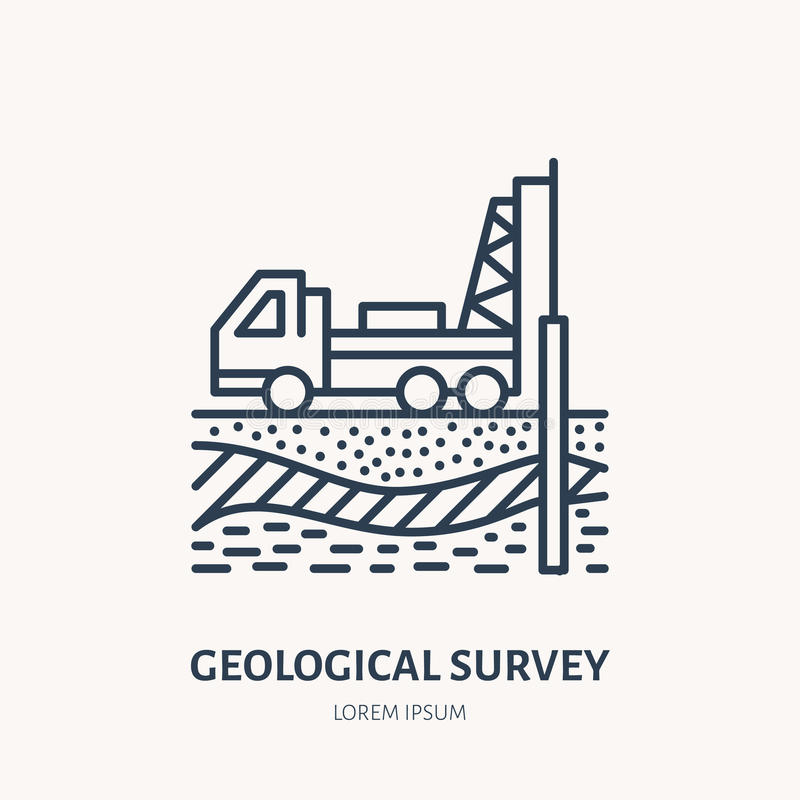 Geological survey, engineering vector flat line icon. Geodesy equipment. Geology research, taking soil sample. Illustration. Well drilling service signs vector illustration