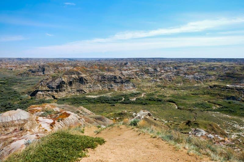 Geologiczne cechy w dinosaura prowincjonału parku, Alberta, Kanada obrazy royalty free