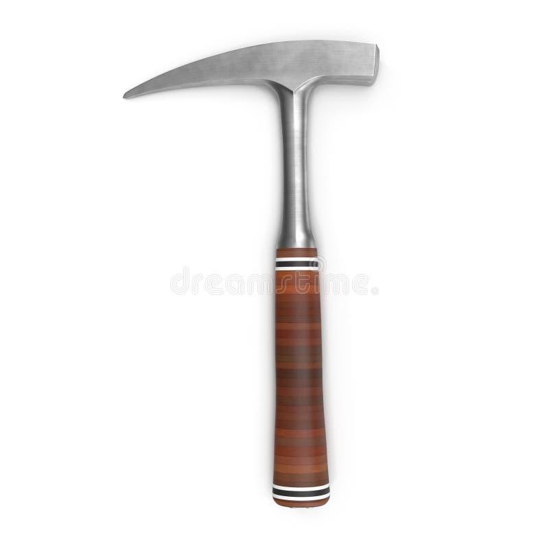 Geologie-Felsen-Hammer auf weißem Hintergrund stockfotografie