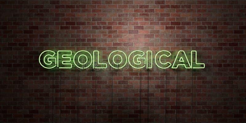 GEOLOGISCH - fluorescent T.L.-buisteken op metselwerk - vooraanzicht - 3D teruggegeven royalty vrij voorraadbeeld royalty-vrije illustratie