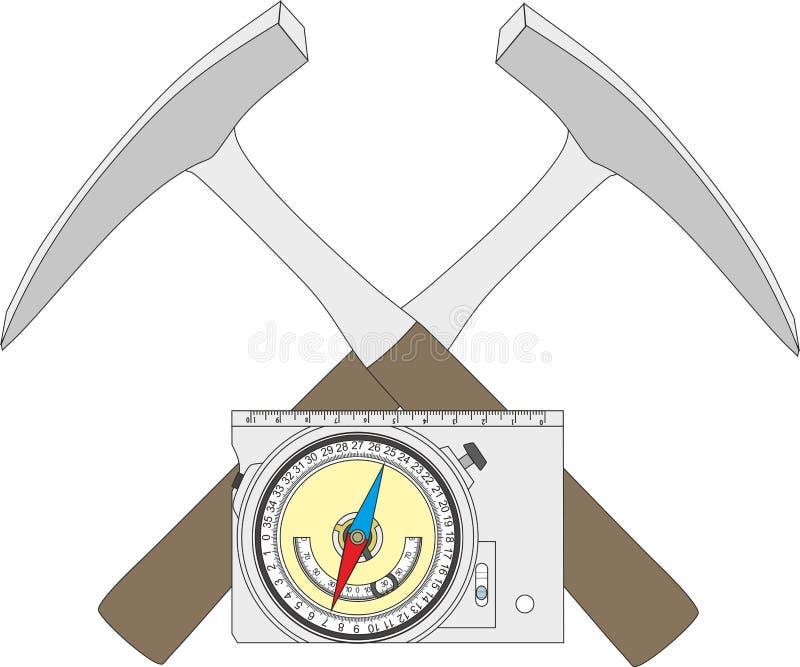 Geologisch kompas, geologische hamer en een blokdiagram vector illustratie