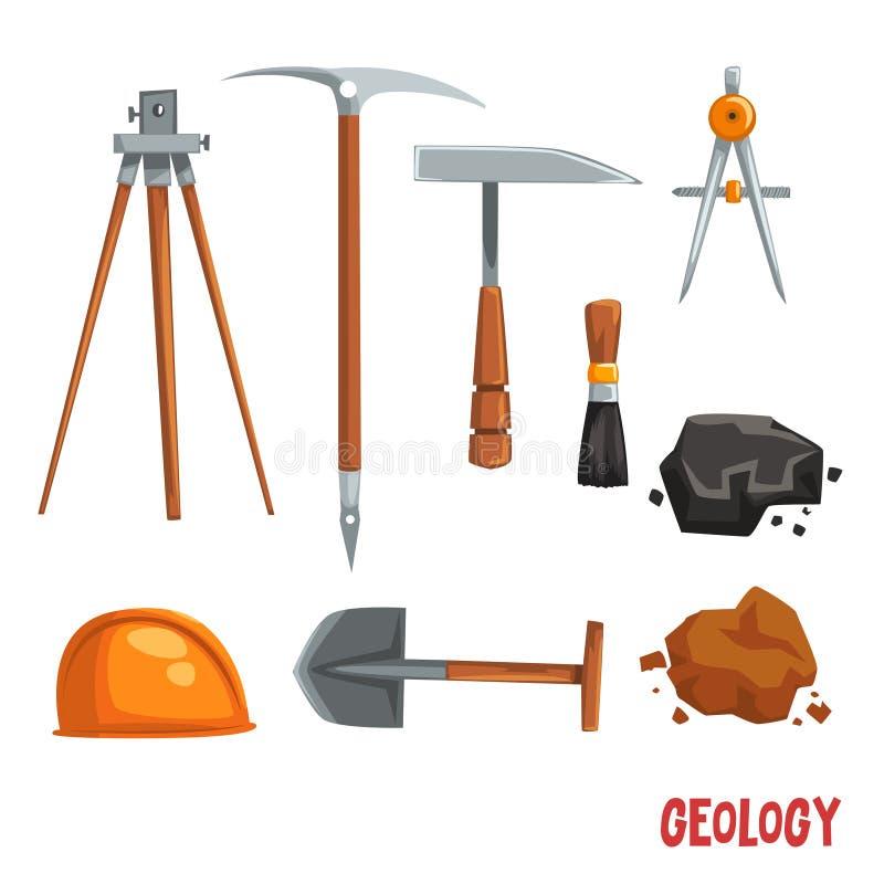 Geologisch of mijnbouwmateriaal, geodetic instrumenten en hulpmiddelen vectorillustratie op een witte achtergrond vector illustratie