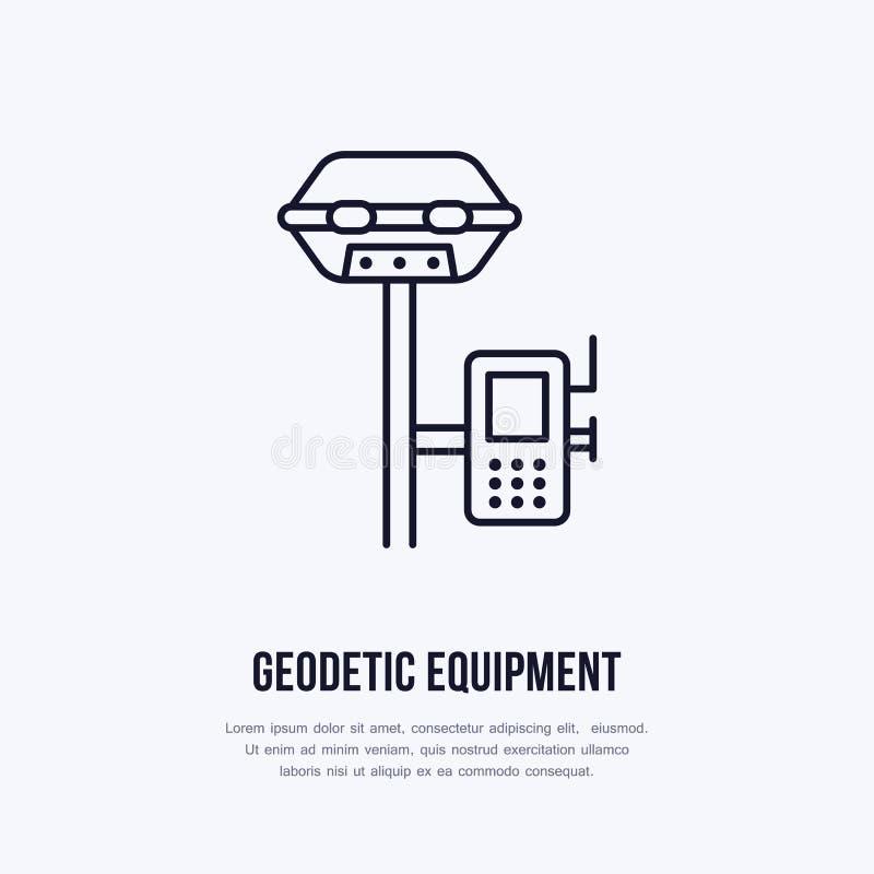 Geologisch onderzoek, pictogram van de techniek het vector vlakke lijn Geodesiemateriaal De illustratie van het de geologieonderz vector illustratie