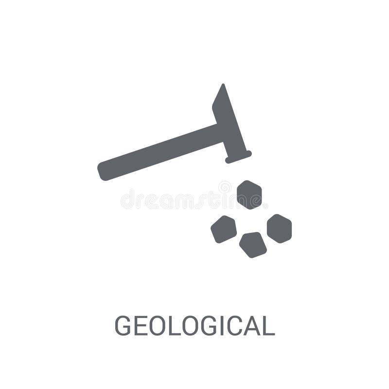 Geologisch pictogram In Geologisch embleemconcept op witte backgro stock illustratie