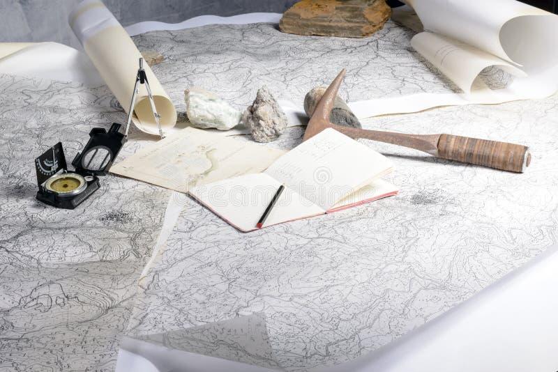 Geologische expeditie royalty-vrije stock afbeeldingen