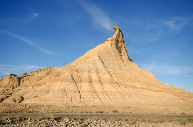Geologische formaties in de woestijn van Las Bardenas Reales, Navarra, Spanje stock fotografie
