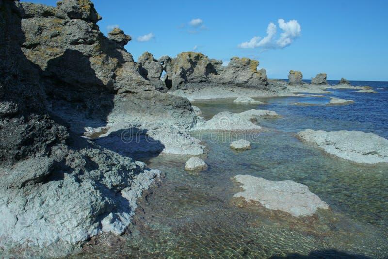 Geologische Formulare von Schweden, Gotland stockfotos