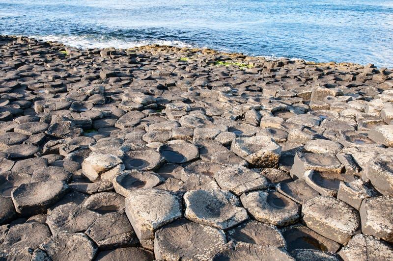 Geologiskt bildande för jättevägbank i nordligt - Irland arkivbild
