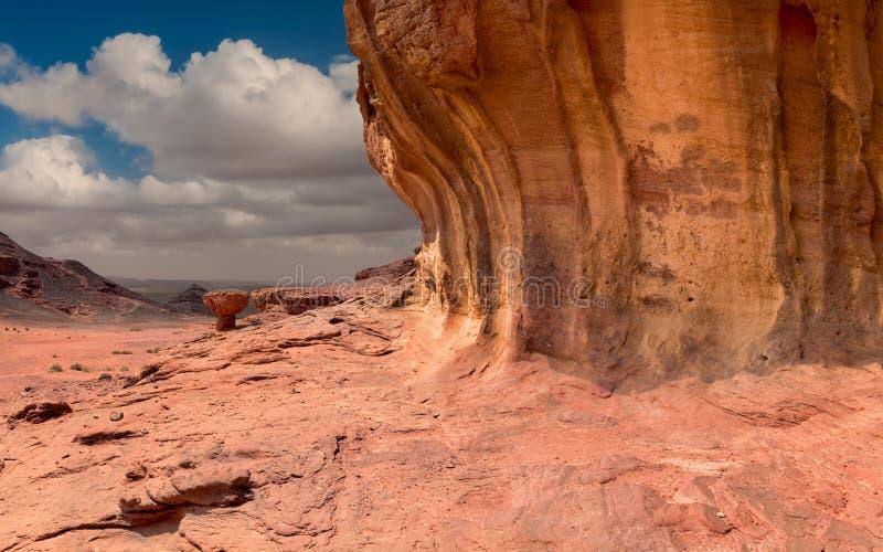 Geologiskt bildande som namnges som champinjonen, öken av Negeven, Israel arkivfoton