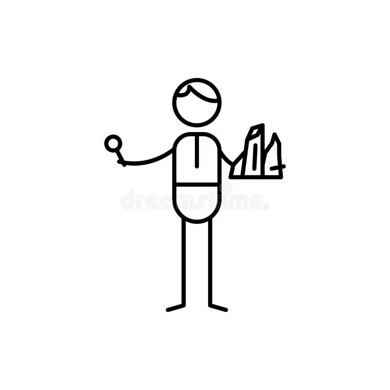 Geologsymbol Beståndsdel av den mänskliga hobbysymbolen för mobila begrepps- och rengöringsdukapps Den tunna linjen geologsymbol  stock illustrationer