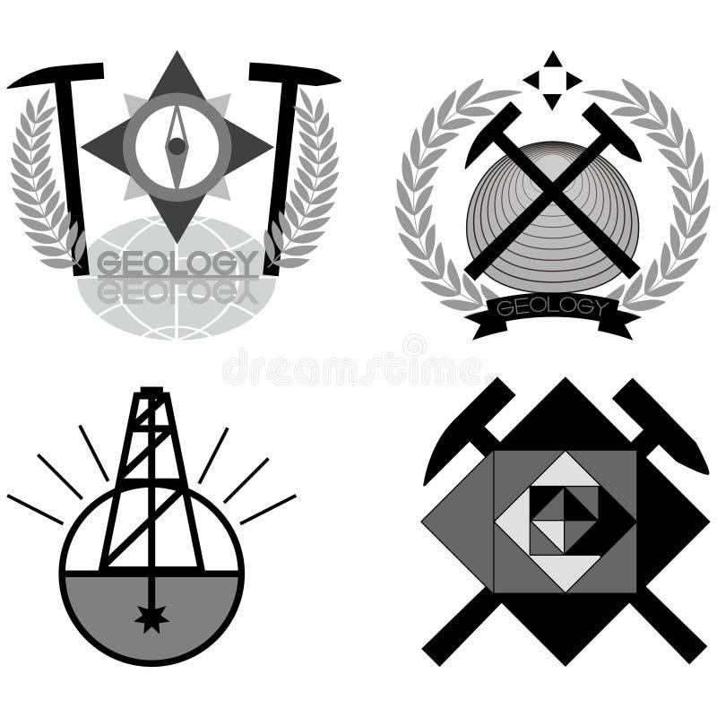 Geology emblem. Set of emblems and line length on the topic geology, illustration stock illustration