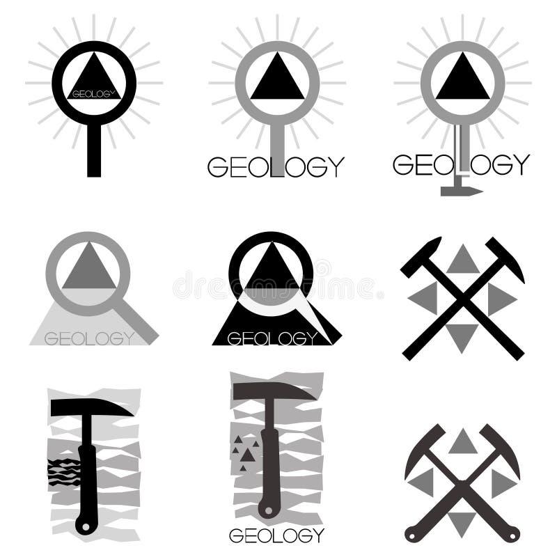 Geology emblem. Set of emblems and line length on the topic geology, illustration royalty free illustration