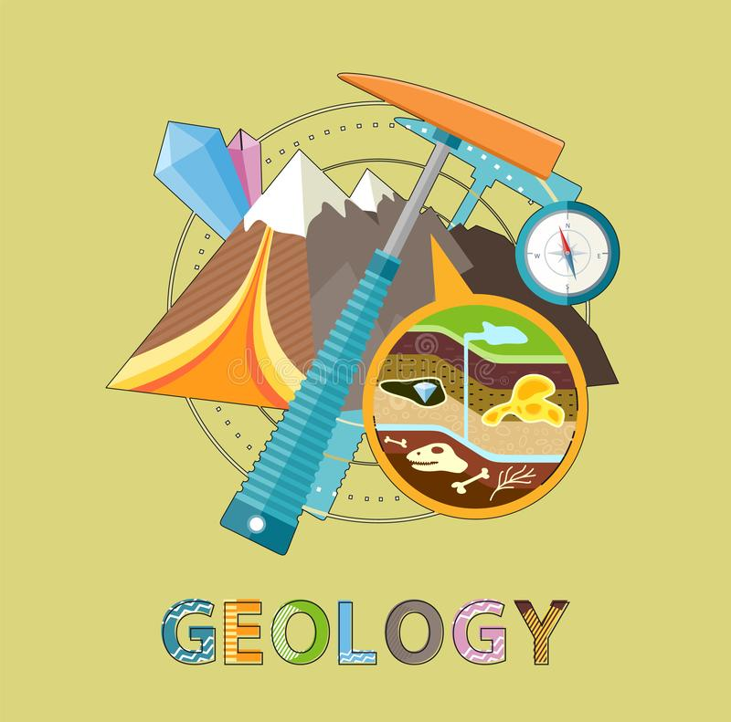 Geology Emblem with Pick, Mountain and Minerals. Geology excavations and geological researches. Pick and compass equipment, closeup of ground layers with fossils vector illustration