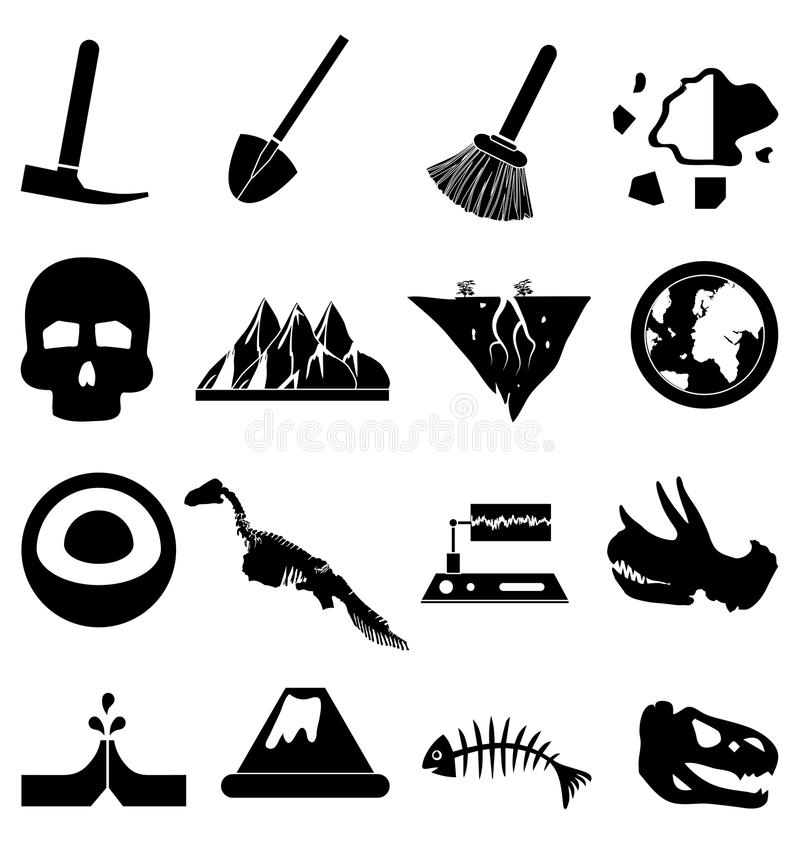 Geology icons set. In black vector illustration