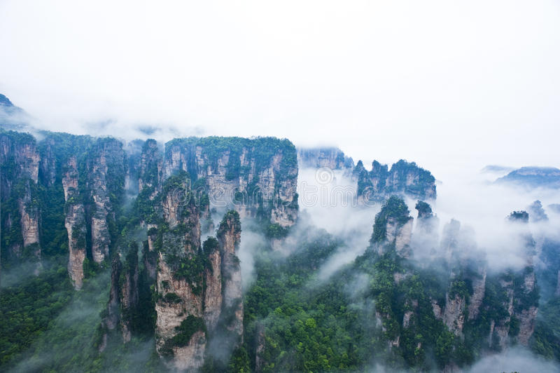 Geology and Landscape of Zhangjiajie stock photo