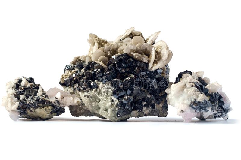 Geology. Natural mineral. Calcite and sphalerite in natural conditions form beautiful stones. It is used for interior decoration, as well as sphalerite for royalty free stock image