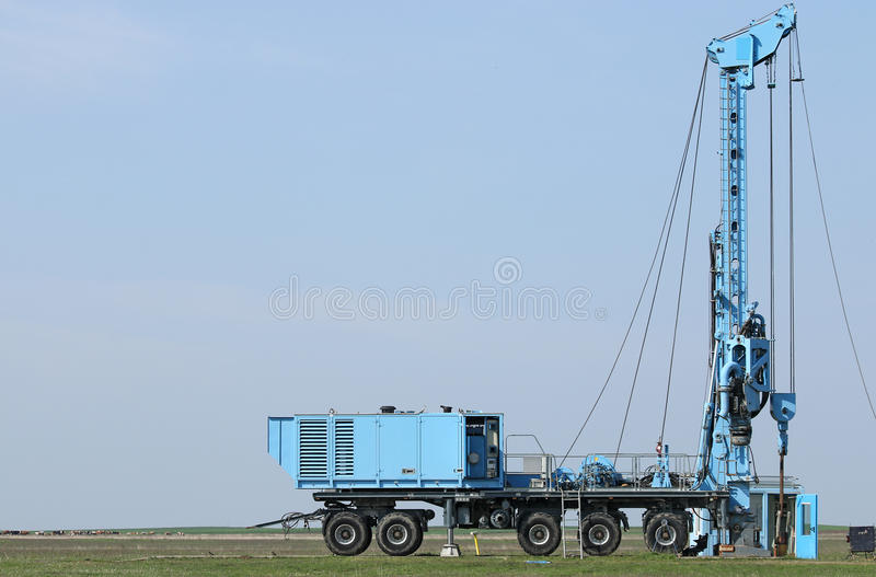 Geology And Oil Exploration Mobile Drilling Rig Vehicle Stock Photo