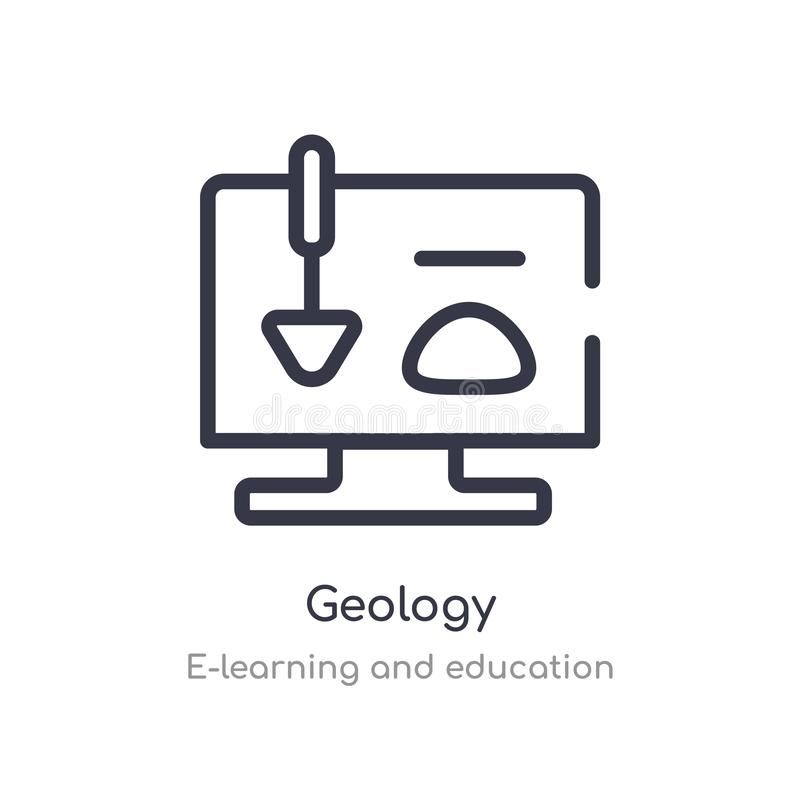 Geology outline icon. isolated line vector illustration from e-learning and education collection. editable thin stroke geology. Icon on white background vector illustration