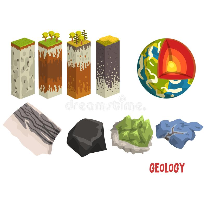Geology science elements, stratigraphic columns, Earth detailed structure,mineral stones vector Illustration on a white. Geology science elements, stratigraphic royalty free illustration
