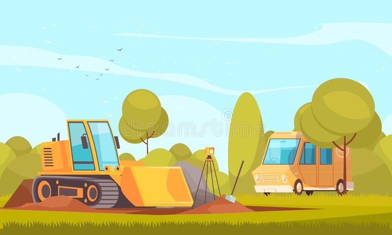 Geology Transport Equipment Composition. Geology equipment composition with flat sunny outdoor landscape and images of van and bulldozer digging ground vector royalty free illustration