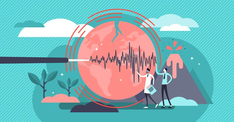 Geology vector illustration. Flat tiny volcano earthquake persons concept. Signal technology study to predict nature disasters. Scientists gathering instrument vector illustration