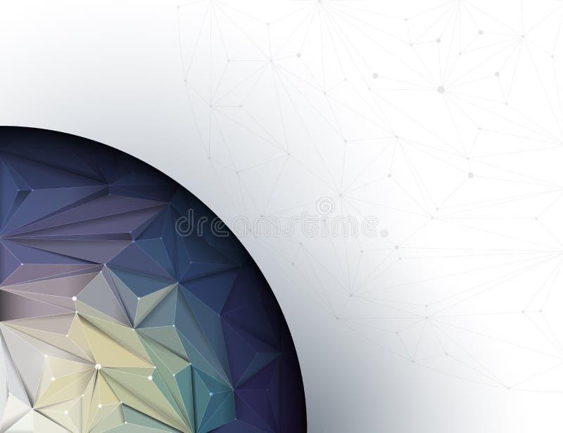 Geométrico abstracto del ejemplo, poligonal, modelo del triángulo con el fondo gris claro del color stock de ilustración