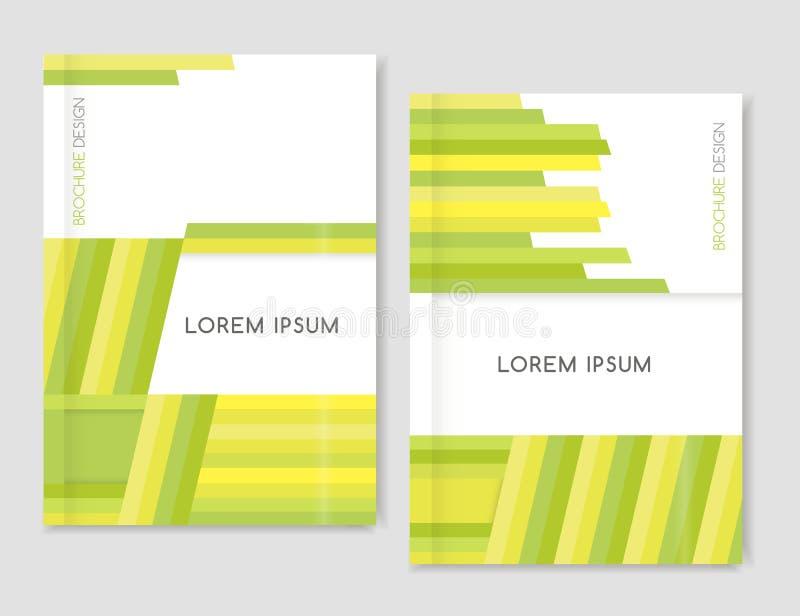 Geométrico abstracto Diseño de la cubierta para el aviador del prospecto del folleto Líneas diagonales amarillas, verdes, verdes  ilustración del vector