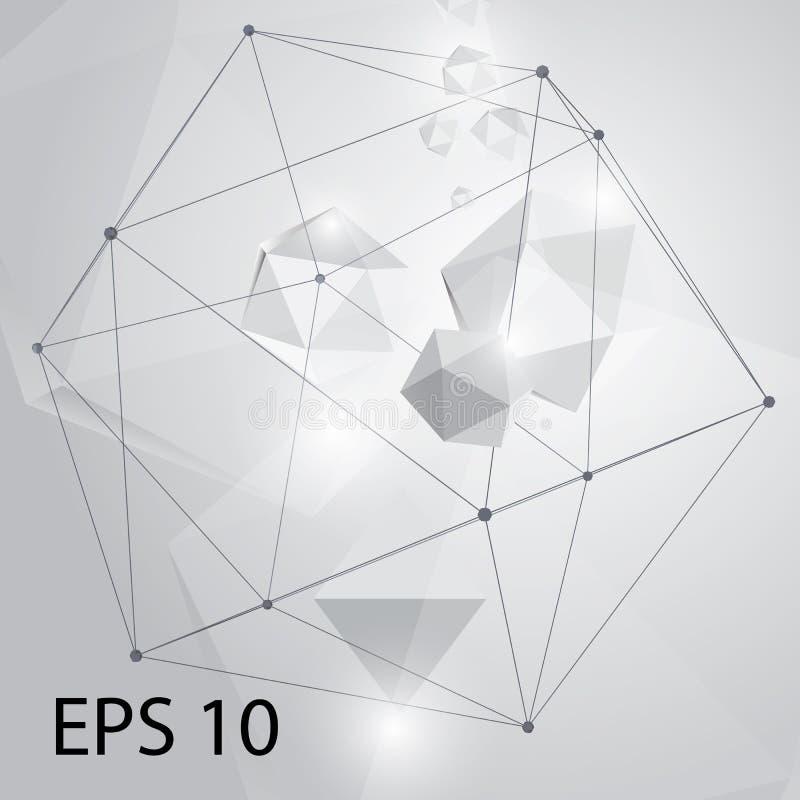 Geométrico abstracto Molécula gris geométrica y comunicación del fondo Líneas conectadas con los puntos Vector Illustratio ilustración del vector