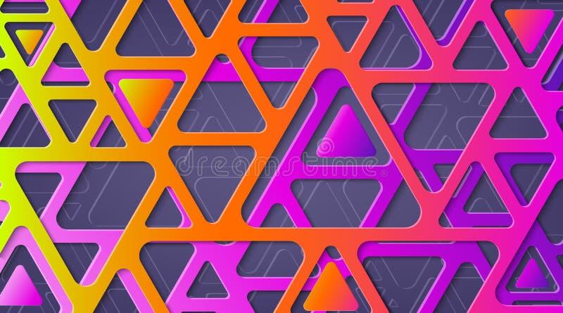 Geométrico abstracto Paleta de colores brillante ultravioleta Triángulos con las esquinas redondeadas libre illustration