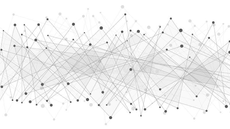 Geométrico abstrato Escuro - o cinza conectou triângulos em um fundo branco Web do plexo Dados grandes Projeto poligonal moderno imagem de stock royalty free