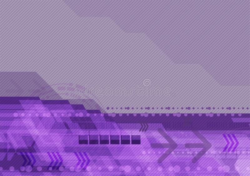Geométrico abstrato roxo para o conceito da tecnologia digital e do negócio Fundo da ilustração do vetor ilustração stock