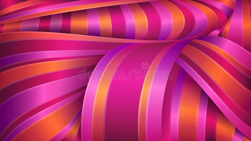 Geométrico abstrato Tela brilhante do cetim Fitas violetas e vermelhas ilustração do vetor