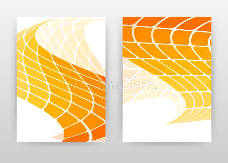 Geométrico acenou o projeto de negócio amarelo alaranjado das etiquetas para o informe anual, folheto, inseto, cartaz Fundo alara ilustração stock