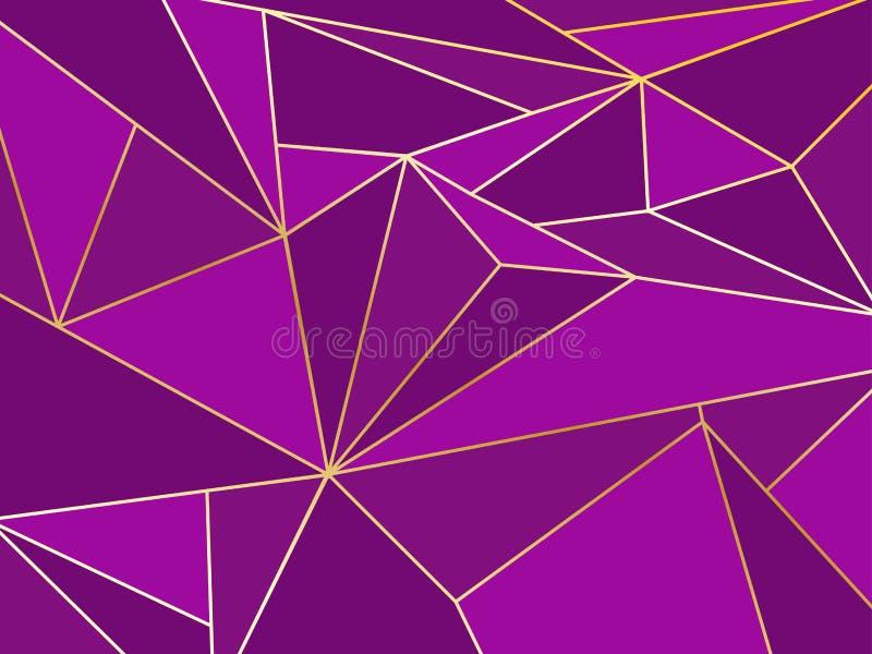 Geométrico artístico del polígono púrpura abstracto con la línea del oro ilustración del vector