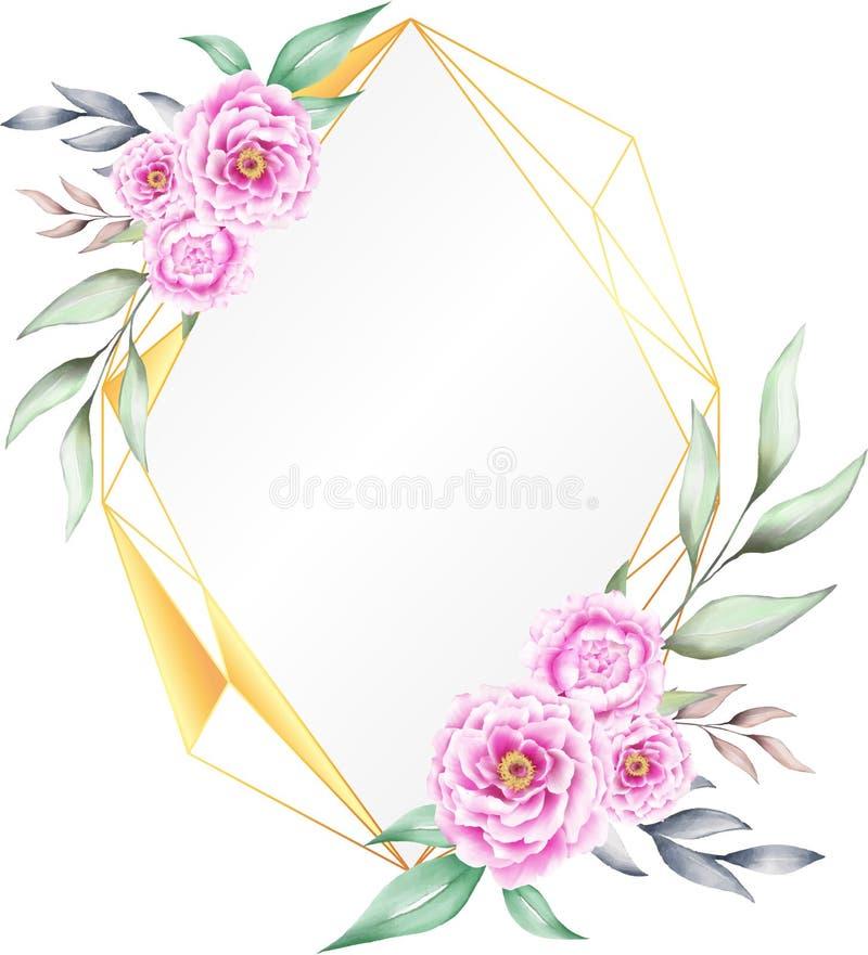Geométrico dourado do quadro floral da aquarela dado forma para cartões do convite ou logotipo do casamento ilustração do vetor