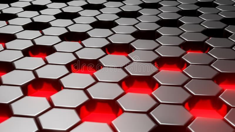 Geométrico hexagonal del negro del extracto acodado Superficie futurista de los hexágonos Fondo futuro del concepto de la ciencia ilustración del vector