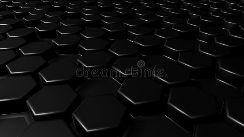 Geométrico hexagonal del negro del extracto acodado Superficie futurista de los hexágonos Fondo futuro del concepto de la ciencia libre illustration