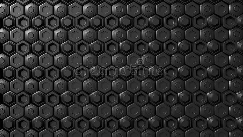 Geométrico hexagonal del negro del extracto acodado Superficie futurista de los hexágonos Fondo futuro del concepto de la ciencia stock de ilustración
