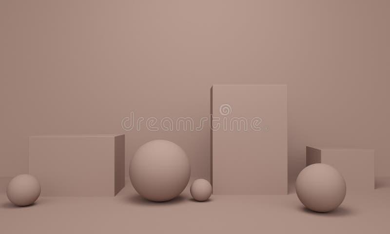 Geométrico ilumine - o fundo abstrato marrom com plataforma e as bolas quadradas rendi??o 3d ilustração stock