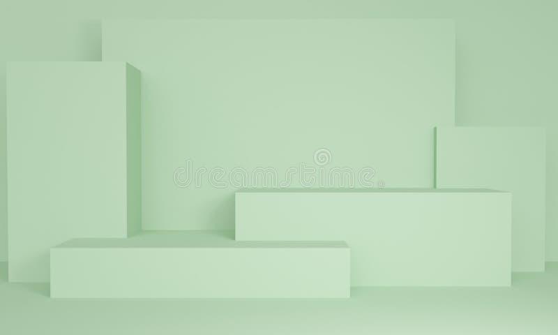 Geométrico ilumine - o fundo abstrato verde com plataforma retangular rendi??o 3d ilustração royalty free