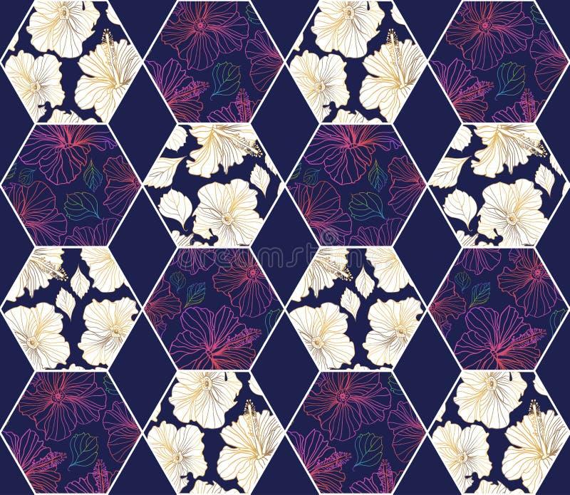 Geométrico inconsútil y estampados de flores del vector foto de archivo libre de regalías