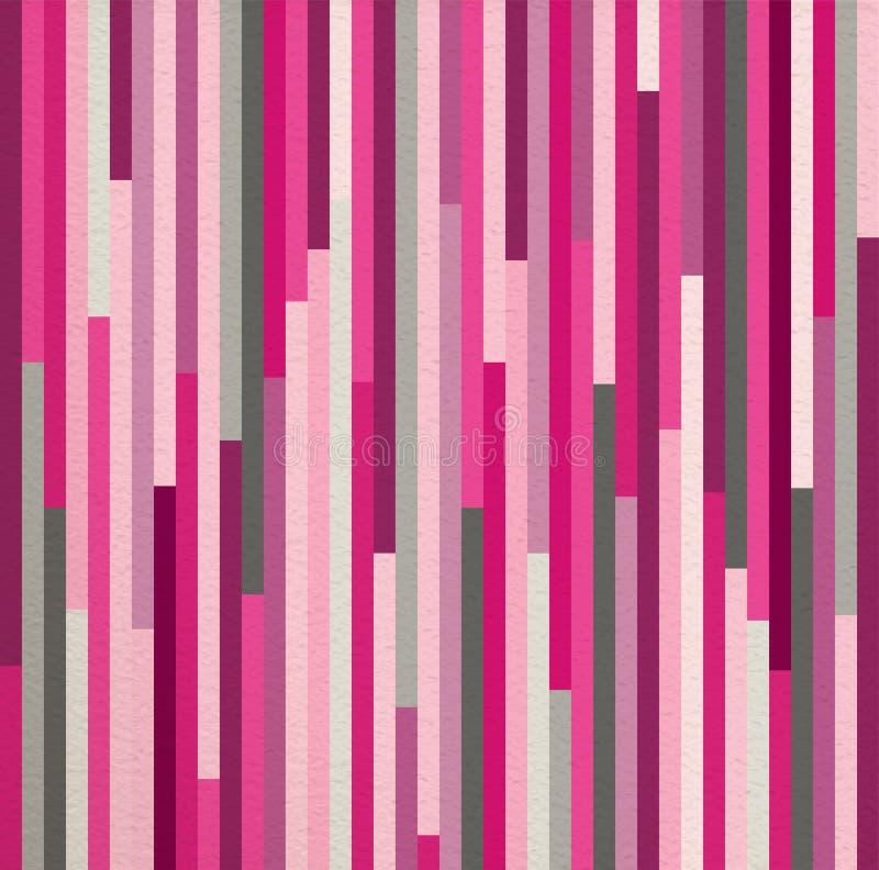 Geométrico rayado del modelo del vintage inconsútil del rosa stock de ilustración