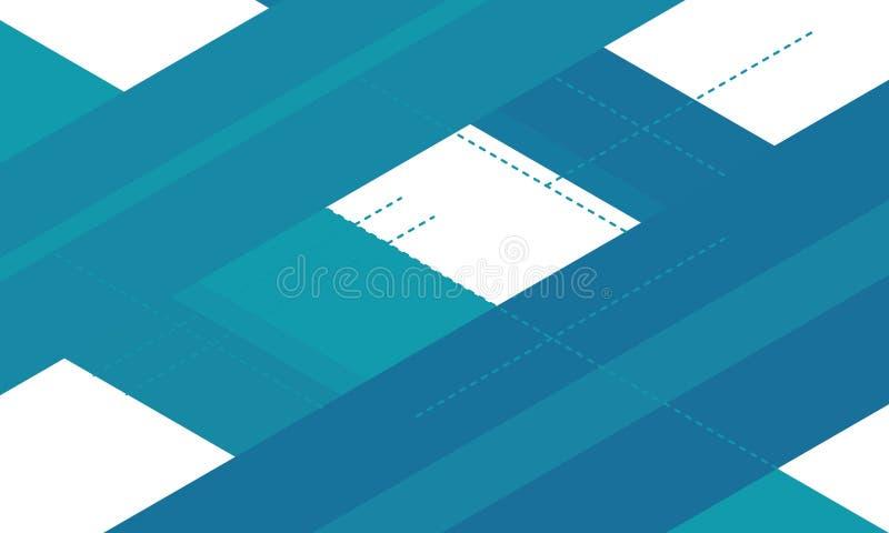 Geom?trico abstracto líneas blancas y azules fondo abstraiga el fondo stock de ilustración