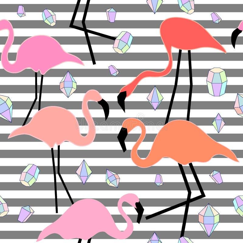 Geomericpatroon met flamingo en diamanten royalty-vrije illustratie